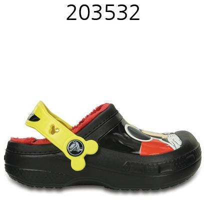CROCS Kids Creative Crocs Mickey Fuzz Lined Clog Black 203532-001
