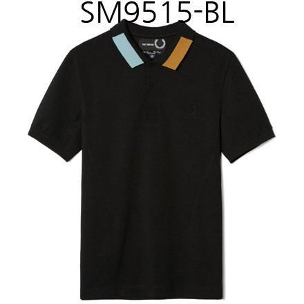 FRED PERRY Raf Simons Block Tipped Pique Shirt Black SM9515