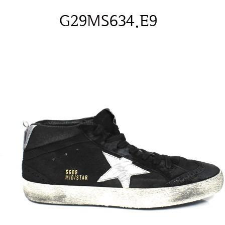 GOLDEN GOOSE Mid Star Sneakers In Nabuk With Leather Star BlackSilver G29MS634.E9