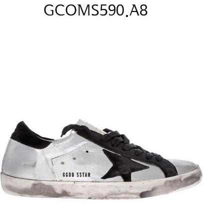 GOLDEN GOOSE Super Star Sneakers In Leather With Suede Star Silverblackleather GCOMS590.A8