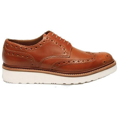 GRENSON ARCHIE AMBER RUB OFF BROGUE SHOE in Tan