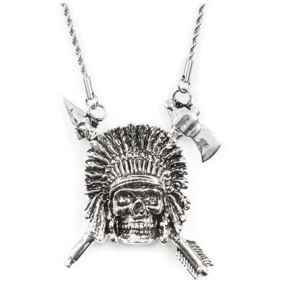 Han Cholo Indian Chief Necklace Fron Shadow Series HCN17 Silver