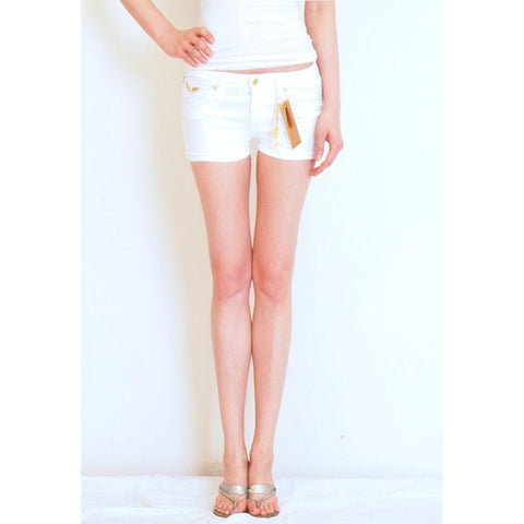 Robins Jean Marilyn Shorts White with 1 line aurum gold wing