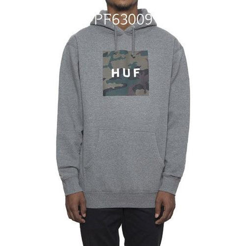HUF Muted Military Box Logo Pullover GreyHeather PF63009