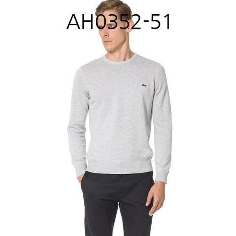 LACOSTE Mens Seg 1 Cotton Jersey Crewneck Sweater Silver Chine AH0352-51