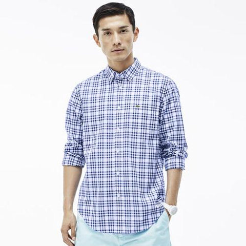 LACOSTE MENS SMALL CHECK PATTERN SHIRT in White/Delta