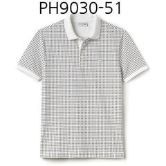 LACOSTE Mens Kinetic Print Pique Polo White PH9030-51