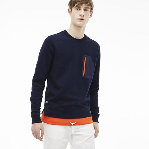 LACOSTE MENS L!VE NYLON POCKET SWEATSHIRT in Navy Blue/Navy Blue-Mexico Red