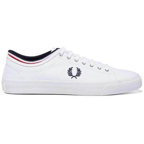 FRED PERRY KENDRICK TIPPED CUFF CANVAS SHOES B5210-100 WHITE
