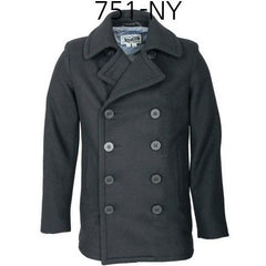 SCHOTT NYC 24Oz Slim Fit Fashion Pea Coat Navy 751