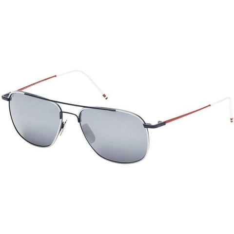 Thom Browne Sungls TB-103-B-WHT-NVY-RED-58 White Navy Red