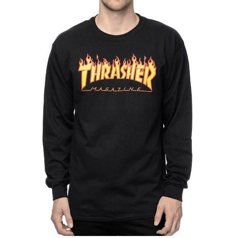 THRASHER Flame Logo Long Sleeve T-Shirt Black 311032