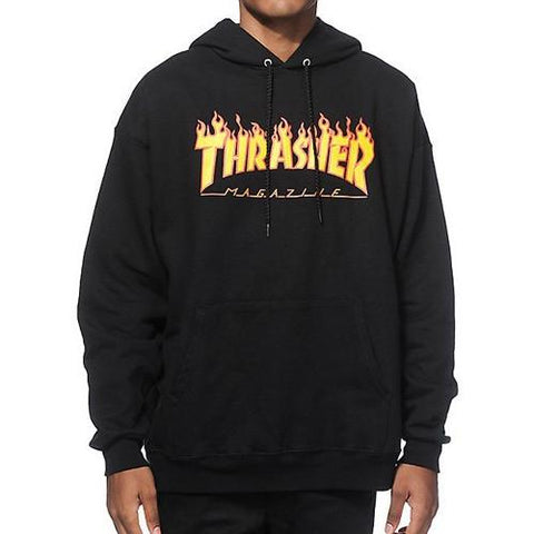 Thrasher Flame Logo Hood Black 312007