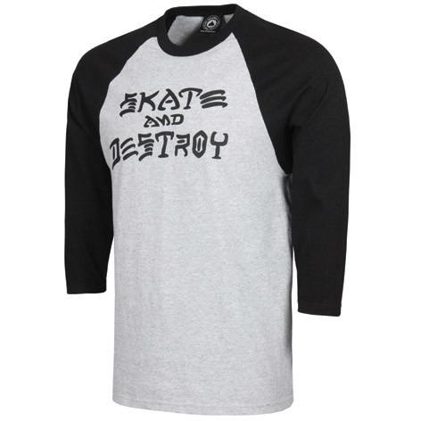 THRASHER Skate And Destroy Raglan 3/4 Sleeve T-Shirt Grey/Black 314025