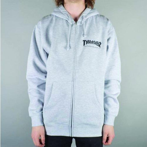 THRASHER Logo Zip Hood Grey 314128