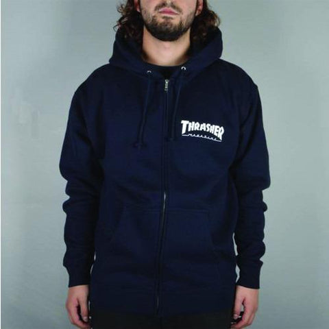 THRASHER Logo Zip Hood Navy 314128