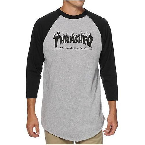 Thrasher Flame Logo Raglan Grey/Black 314425