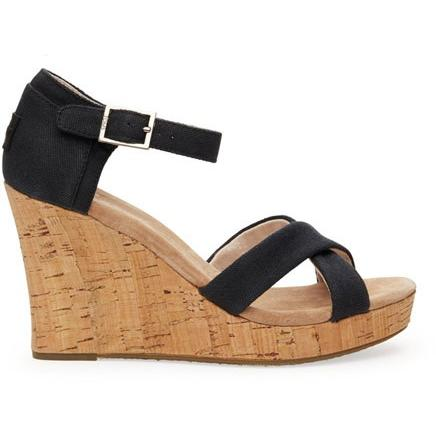 Toms Black Canvas Cork Women's Strappy Wedge 10004885