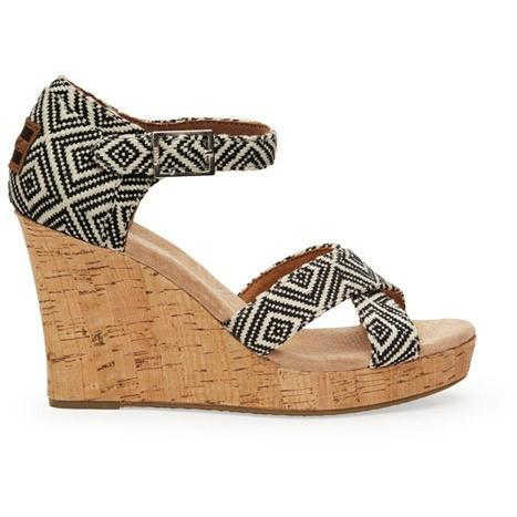Toms Woven Diamond Women's Strappy Wedge 10004917