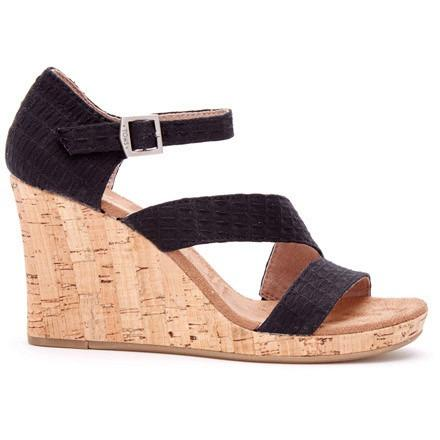 TOMS TEXTILE WOMENS CORK CLARISSA WEDGES in Black