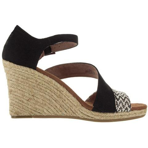 TOMS Womens Rope Clarissa Wedge Shoe in Black White