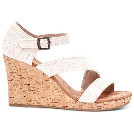 TOMS LINEN WOMENS CORK CLARISSA WEDGES in NATURAL