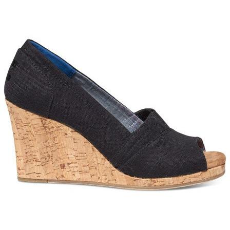 TOMS LINEN CORK WOMENS CLASSIC EDGES in Black