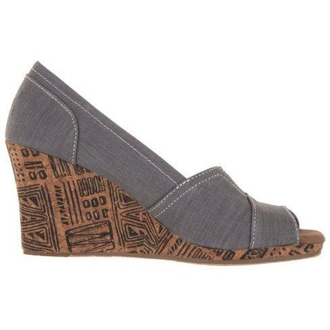 TOMS Womens Classic Wedge Casual Shoe in GREY