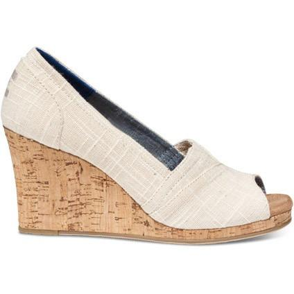 TOMS Womens Linen Cork Classic Wedges in NATURAL