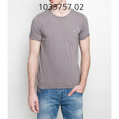TOM TAILOR Dot Printed T-Shirt With Pocket SteelGrey 103375702