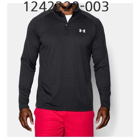UNDER ARMOUR Mens Tech 1/4 Zip Long Sleeve T-Shirt Black/White 1242220-003