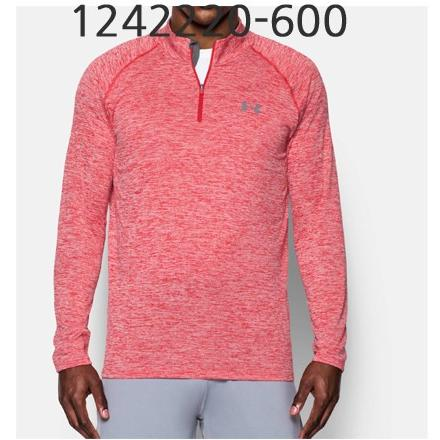 UNDER ARMOUR Mens Tech 1/4 Zip Long Sleeve T-Shirt Red/Graphite 1242220-600