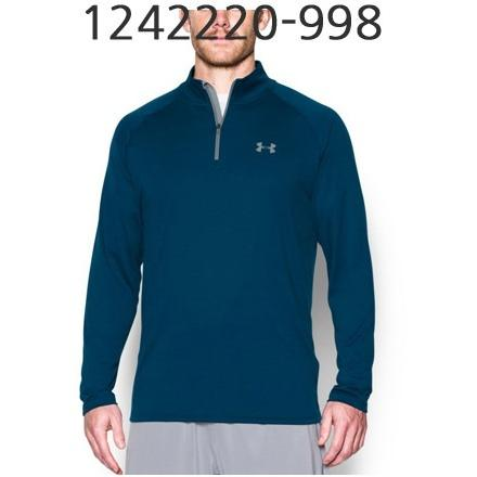 UNDER ARMOUR Mens Tech 1/4 Zip Long Sleeve T-Shirt Blackout Navy/Steel 1242220-998