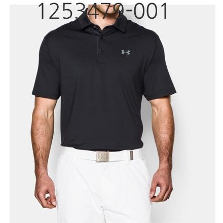 UNDER ARMOUR Mens Playoff Golf Polo T-Shirt Black/Graphite 1253479-001