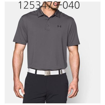 UNDER ARMOUR Mens Playoff Golf Polo T-Shirt Graphite/Black 1253479-040