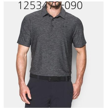 UNDER ARMOUR Mens Playoff Golf Polo T-Shirt Carbon Heather/Asphalt Heather/Black 1253479-090