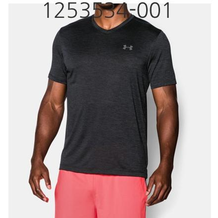 UNDER ARMOUR Mens Tech V-Neck T-Shirt Black/Steel 1253534-001
