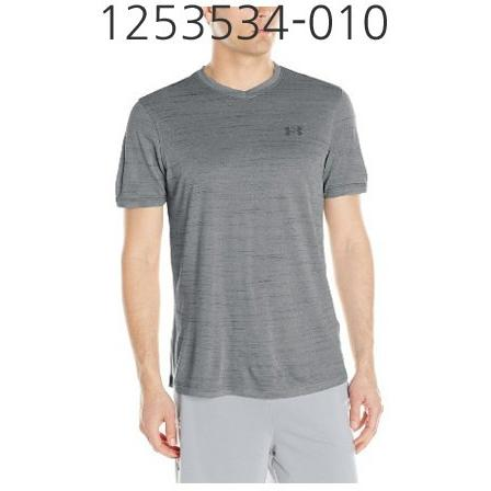 UNDER ARMOUR Mens Tech V-Neck T-Shirt Stealth Gray/Phoenix Fire 1253534-010