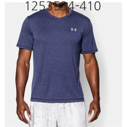 UNDER ARMOUR Mens Tech V-Neck T-Shirt Midnight Navy/Steel 1253534-410