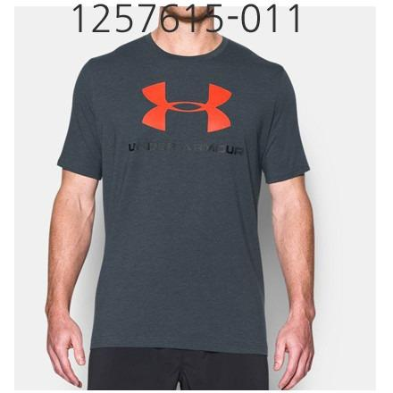 UNDER ARMOUR Mens Sportstyle Logo T-Shirt Stealth Gray Medium Heather/Black/Phoenix Fire Red  1257615-016