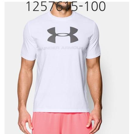 UNDER ARMOUR Mens Sportstyle Logo T-Shirt White/Blue Gray/Graphite 1257615-100