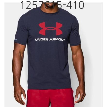 UNDER ARMOUR Mens Sportstyle Logo T-Shirt Midnight Navy/White/Red 1257615-410
