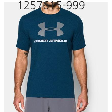 UNDER ARMOUR Mens Sportstyle Logo T-Shirt Blackout Navy Medium Heather/White/Steel 1257615-999