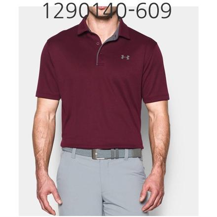 UNDER ARMOUR Mens Tech Polo T-Shirt Maroon/Graphite 1290140-609