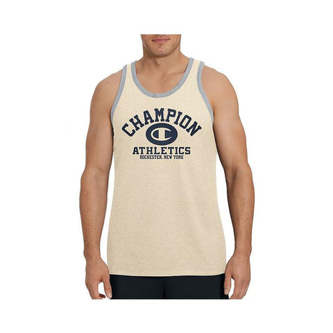 Champion Men's Ringer Tank Oatmeal Heather/Oxford T0224G