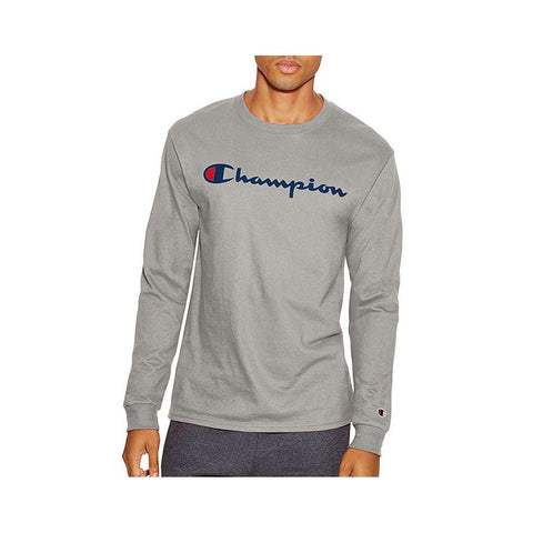 Champion Cotton Long-Sleeve Tee Oxford Grey T2229P