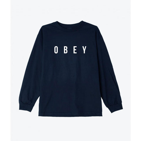 Obey Anyway Basic Long Sleeve T-Shirt Navy 164901638