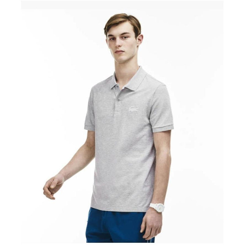 Lacoste Mens Slim Fit Rubber Crocodile Stretch Pique Polo Shirt Silver Chine PH5789-51