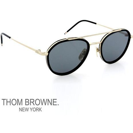 THOM BROWNE Unisex Sunglasses Tb-801-A-Gld-Blk-51  Matte Black-Gold/Grey TB-801