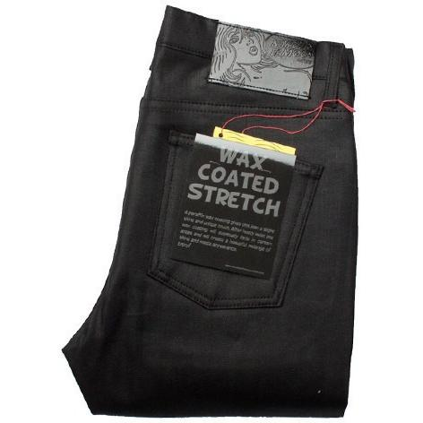 Naked & Famous StackedGuy Wax Coated Black Stretch